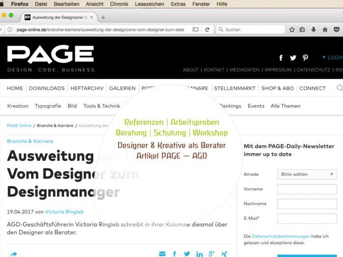 Referenzen | Arbeitsproben – Beratung | Schulung | Workshop Designer & Kreative als Berater – Artikel PAGE — AGD